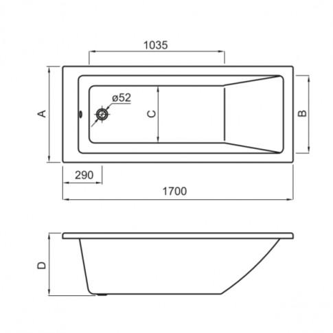 Cada baie rectangulara Roca Nolah 248395000, acril, 170 x 70 cm