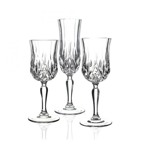 Pahar vin + apa + sampanie, Opera RCR, din cristal, set 18 bucati