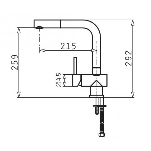 Baterie bucatarie, Pyramis Capriccio 90906501, stativa, monocomanda, inox, finisaj cromat