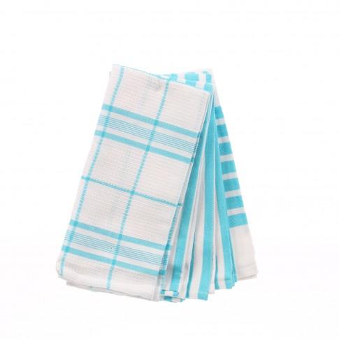 Prosop bucatarie, set 6 bucati, model dungi, bumbac, alb + bleu, 60 x 40 cm