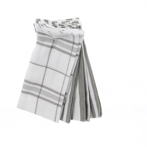 Prosop bucatarie, set 6 bucati, model dungi, bumbac, alb + gri, 60 x 40 cm