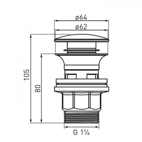 "Ventil click - clack pentru lavoar, Ferro S287PP-B, 1""1/4"