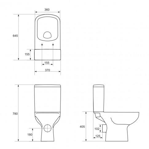 Set vas WC + rezervor + mecanism, Cersanit Colour K103-013, din ceramica, 36 x 75 x 64.5 cm