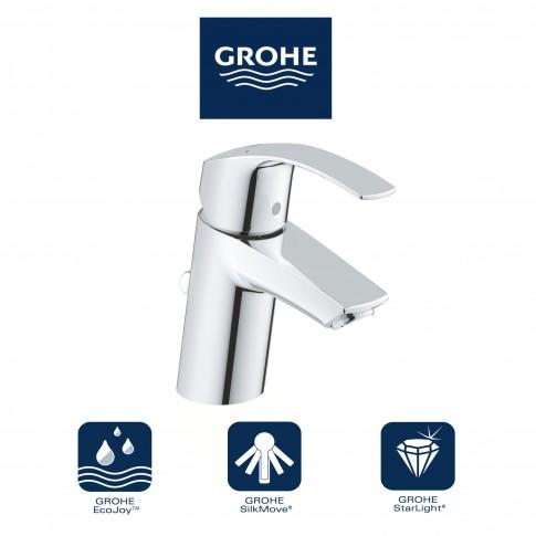 Baterie baie pentru lavoar, Grohe Eurosmart 33265002, montaj stativ, monocomanda, finisaj cromat, ventil inclus