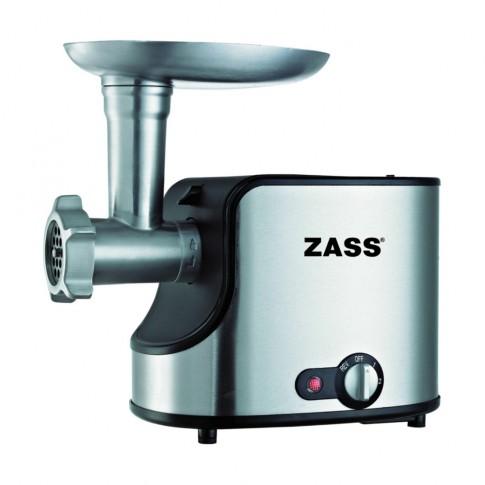Masina de tocat carnea, electrica, Zass ZMG 06, functie Reverse, 1.4 kg/min, 1600 W, gri cu negru