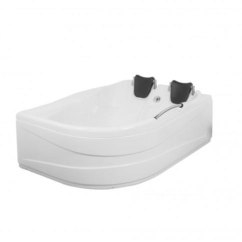 Cada baie asimetrica, varianta montaj pe dreapta, Aisha, masca si suport incluse, acril, 150 x 110 cm