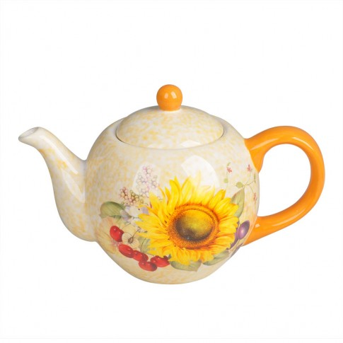 Ceainic HC724-S16, ceramic, bej si portocaliu, 980 ml