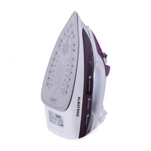 Fier de calcat Albatros Indigo, 2400 W, talpa ceramica, 0.25 l, 105 g/min, sistem anti-calcar, violet cu alb