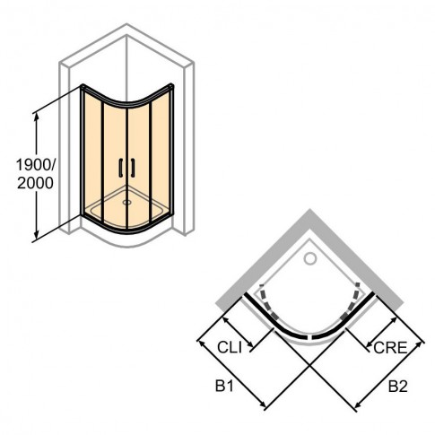 Cabina dus semirotunda X1 R550, 90 x 90 cm