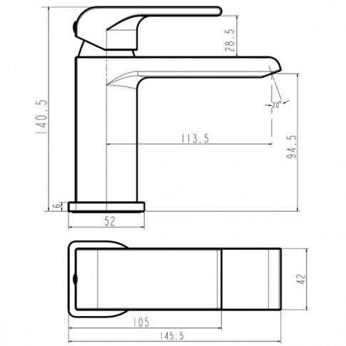Baterie baie pentru lavoar, Ferro Nobless Sharp, montaj stativ, monocomanda, finisaj cromat