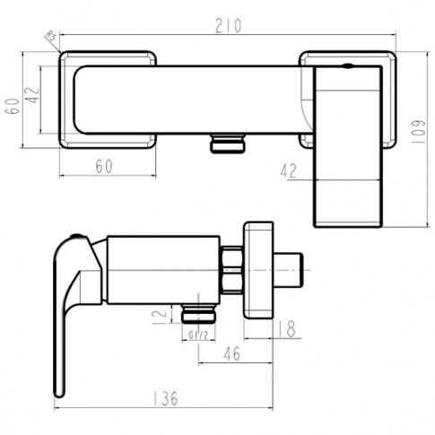 Baterie baie, pentru dus, Ferro Nobless Sharp, monocomanda, montaj aplicat, finisaj cromat