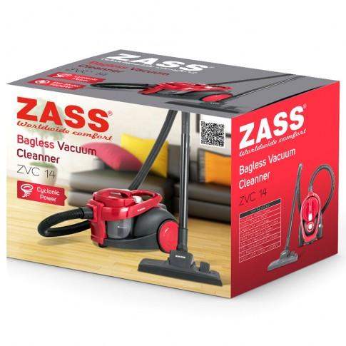 Aspirator Zass ZVC 14, ciclonic, fara sac, aspirare uscata, filtru Hepa, 2.3 l, 800 W