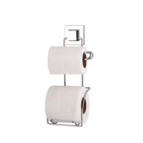 Suport hartie igienica + rezerva, EF 239, fara clapeta, cu ventuza, cromat