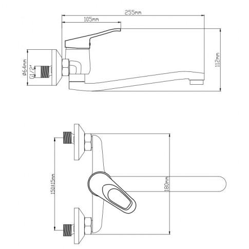 Baterie baie pentru lavoar, Smart ZS54802W-323, montaj aplicat, monocomanda, finisaj cromat