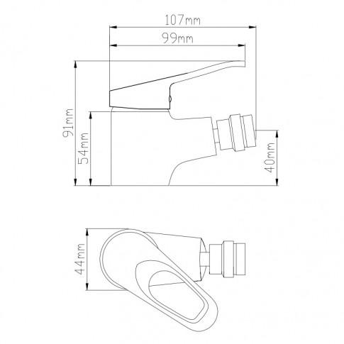 Baterie baie pentru bideu Kadda Smart ZS54804-323, monocomanda, finisaj cromat