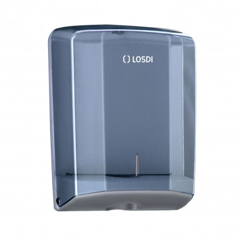 Dispenser hartie Losdi, fume, pentru prosoape pliate, plastic ABS, 28.5 x 27.5 x 13.5 cm