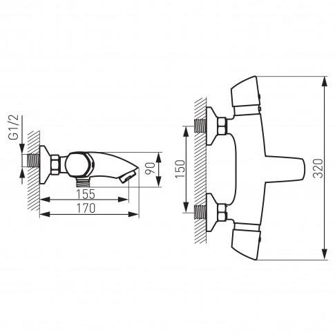 Baterie baie cu termostat pentru cada / dus, Metalia 57 57921/1,0, montaj aplicat, dubla comanda, finisaj cromat