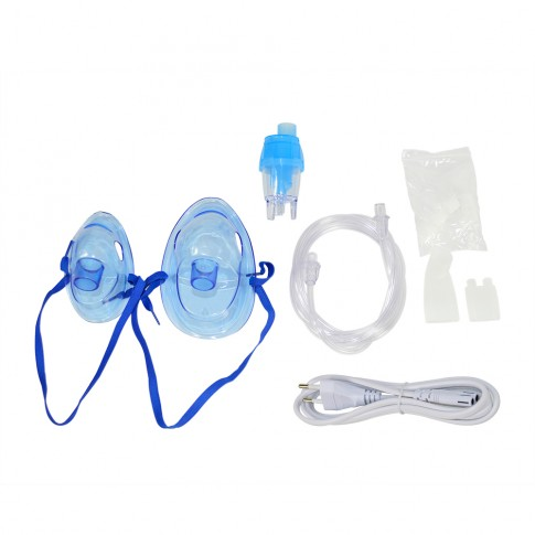 Aparat de aerosoli SilverCloud Respiro 300 Pro PNI-SCAPR300, cu compresor cu piston, 2 masti incluse, portabil, alb + albastru