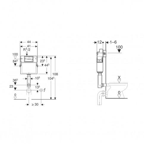 Rezervor apa, incastrat, Geberit Delta 109.100.00.1, 3 / 7.5 L, 44 x 108 cm