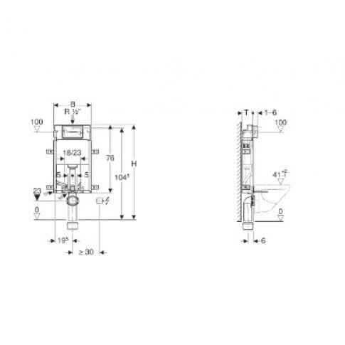 Rezervor apa, incastrat, Geberit Delta Kombifix 110.100.00.1, 3 / 6 L, 42 x 108 cm