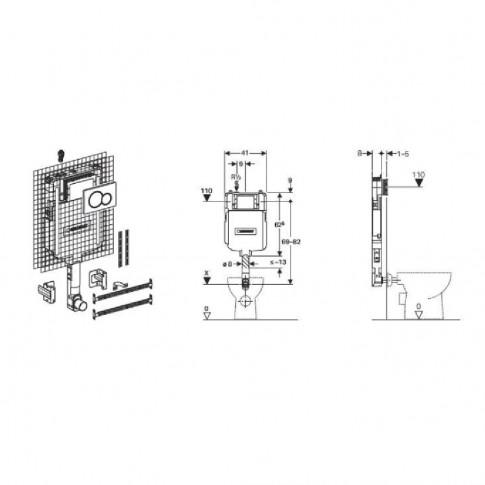 Rezervor WC, incastrat, Geberit Sigma 109.793.21.1, 3 - 7.5 L