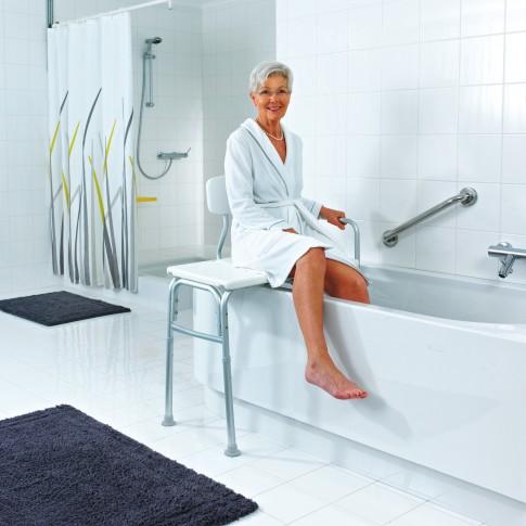 Banca transfer ajustabila, pentru baie, Davo Pro Ridder A0120101, alb, 70 x 41 x 53 / 63 cm