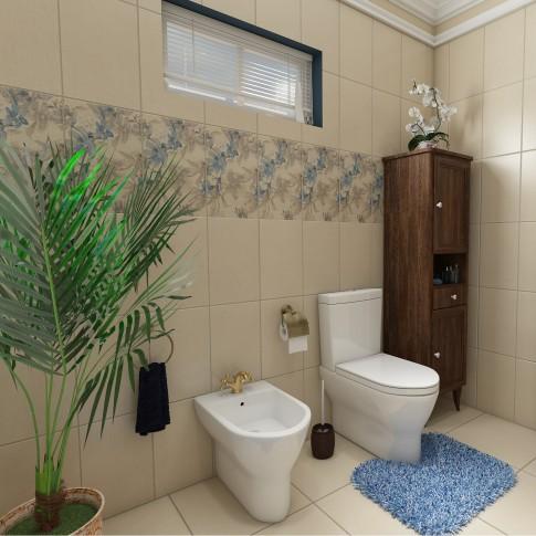 Dulap baie pe sol, 2 usi, cu sertar si usi, Savini Due Daiana, nuc, deschidere dreapta, 161 x 40.5 cm