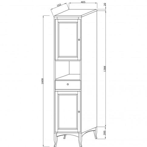 Dulap baie pe sol, 2 usi, cu sertar si usi, Savini Due Daiana 7092S, nuc, deschidere stanga, 161 x 40.5 cm