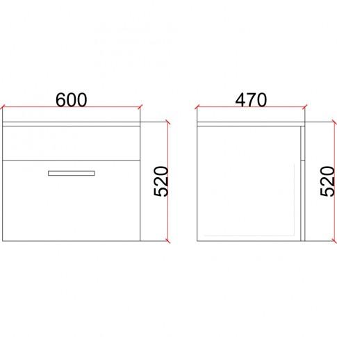 Masca baie + lavoar Martplast Star 600, cu sertar, alb / stejar slavonia, suspendat, 60 x 47 x 52 cm