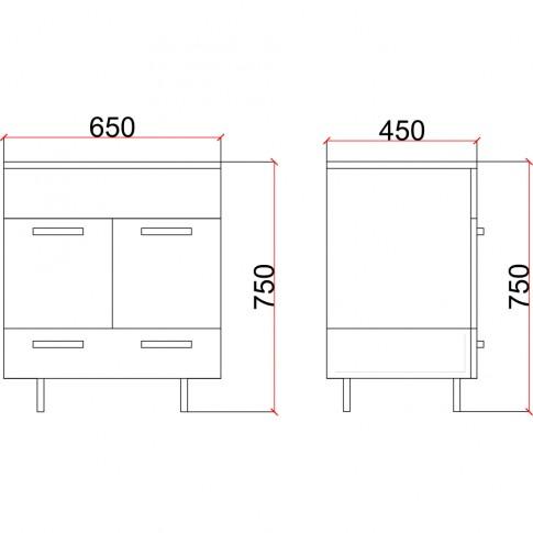 Masca baie + lavoar Martplast Star 750, cu sertare si usi, gri / stejar slavonia, 75 x 45 x 65 cm