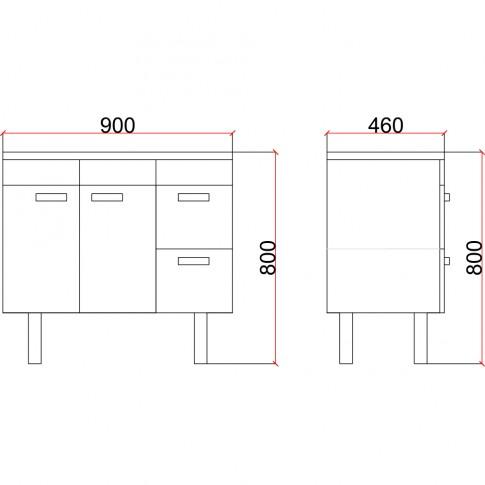 Masca baie + lavoar, Star, cu sertare si usi, alb / gri, 90 x 46 x 60