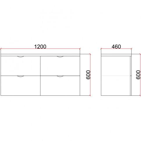 Masca baie + lavoar Martplast Star 1200, cu sertare, alb / negru, suspendat, 120 x 46 x 52 cm