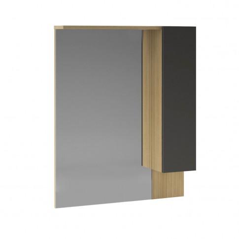 Dulap baie cu oglinda, Martplast Star 750, 1 usa, stejar / gri, 75 x 15 x 75 cm