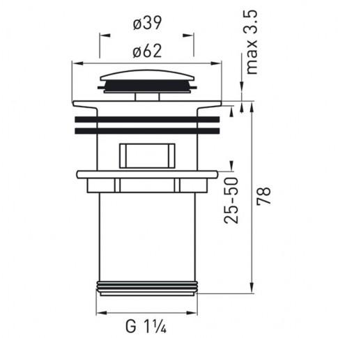 "Ventil click - clack pentru lavoar, Ferro S283, cu preaplin, 1""1/4"