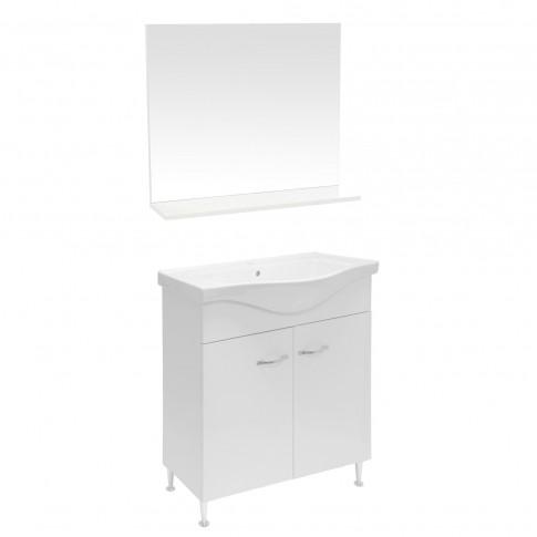 Masca baie + lavoar + oglinda Martplast Focus 850, cu usi, alb, 81 x 80 x 34.2 cm