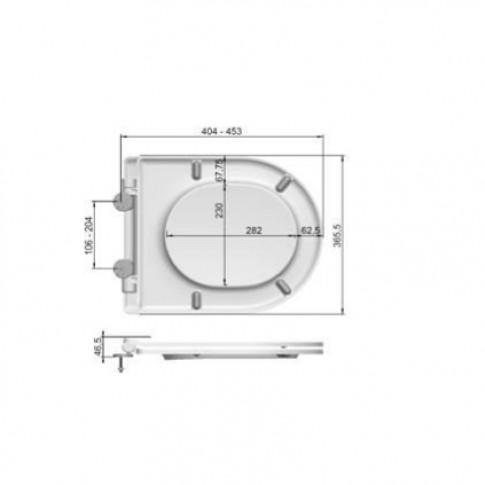 Capac WC din duroplast, MKW Dario Slim S795V011, inchidere lenta, 365 x 404/453 mm