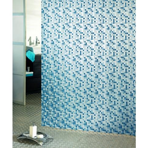 Perdea dus Mosaico, model mozaic, alb + albastru, 180 x 200 cm