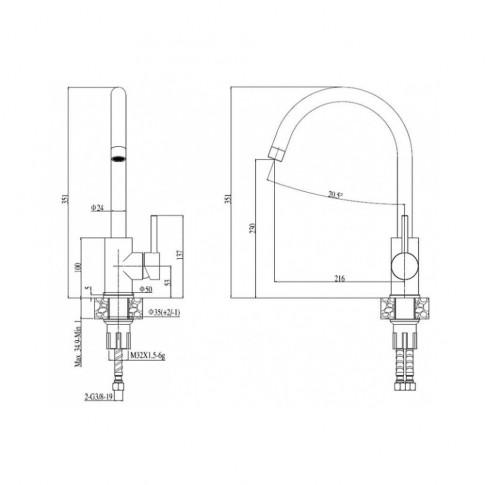 Baterie bucatarie, Alveus Roxa A 91 2090491, stativa, monocomanda, compozit negru
