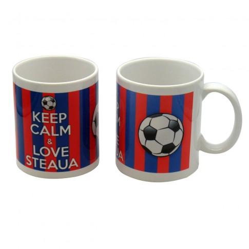 Cana cu mesaj Keep calm and love Steaua, ceramica, multicolor, 250 ml