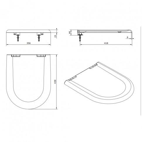 Capac WC din duroplast, Sanindusa Jade 2041100, alb, inchidere standard