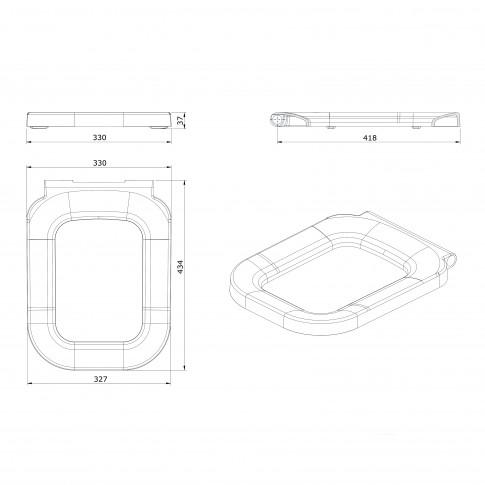 Capac WC din duroplast, Sanindusa Look 2343100, alb, inchidere soft close, 32.7 x 43.4 x 3.7 cm