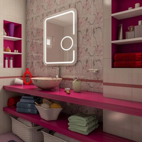 Oglinda baie cu iluminare LED, tip lupa, H199, 60 x 80 cm
