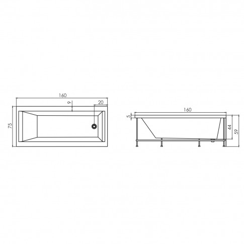 Cada baie rectangulara West Adelaide, acril, 160 x 75 cm, masca frontala si suport incluse