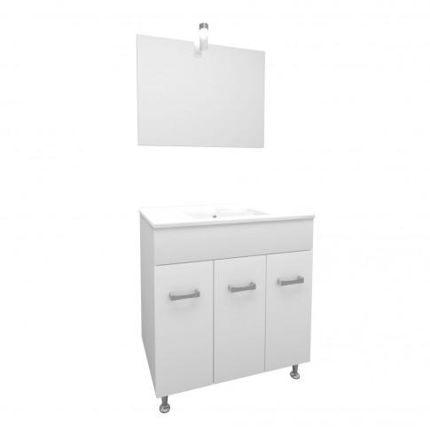 Masca baie + lavoar + oglinda Savini Due Madrid 80, cu usi, alb, 81 x 47 x 87 cm