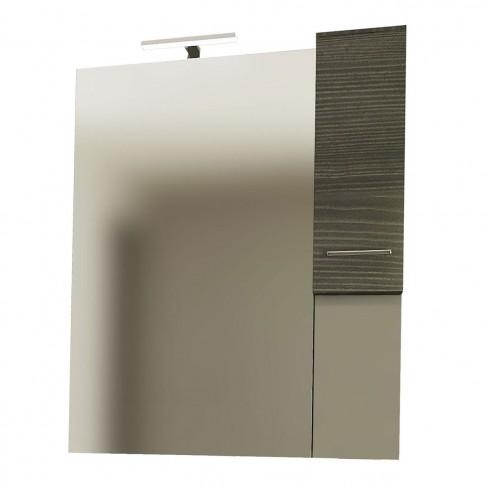 Dulap baie cu oglinda, iluminare, 1 usa, dreapta, Savini Due Rubino 4324D, rovere scuro, 81 x 17.5 x 102 cm
