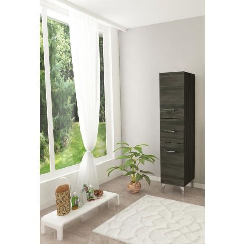 Dulap baie pe sol, 2 usi, cu sertar, Savini Due Rubino, finisaj rovero scuro, deschidere pe stanga, 148 x 31.5 cm