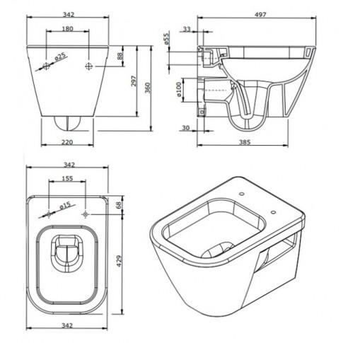 Vas WC suspendat, Sanindusa Look 134032004, evacuare orizontala