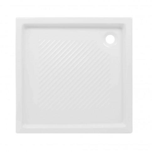 Cadita de dus patrata, Sanindusa Moraira 10717, ceramica, alb, 80 x 80 x 8 cm