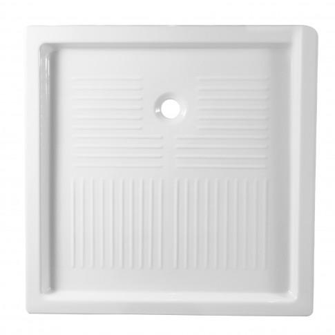 Cadita de dus patrata, Sanindusa Moraira 10725, ceramica, alb, 90 x 90 x 9.5 cm
