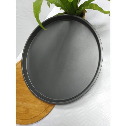Tava rotunda pentru copt, otel, antiaderenta, gri, 35.5 x 2 cm